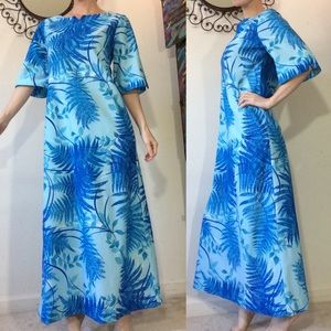 Vintage Hawaiian Mumu Maxi Dress Blue